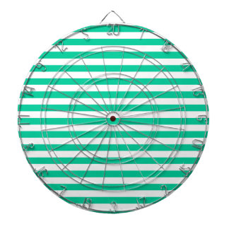 Thin Stripes - White and Caribbean Green Dartboard With Darts