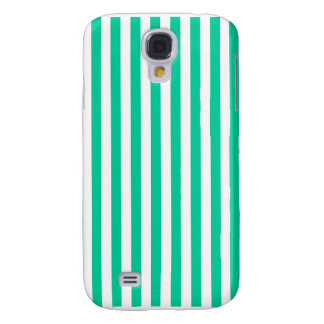 Thin Stripes - White and Caribbean Green Galaxy S4 Covers