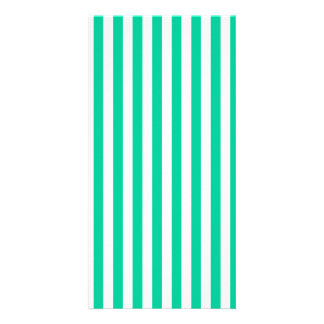Thin Stripes - White and Caribbean Green Photo Cards