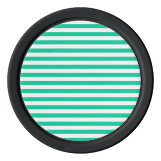 Thin Stripes - White and Caribbean Green Poker Chip Set