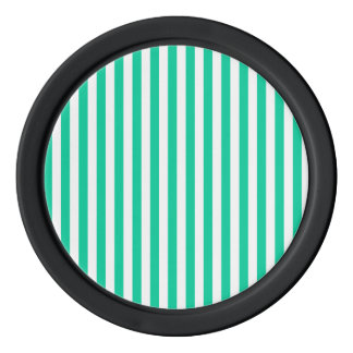 Thin Stripes - White and Caribbean Green Poker Chips