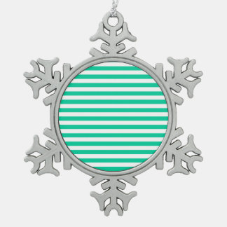 Thin Stripes - White and Caribbean Green Snowflake Pewter Christmas Ornament