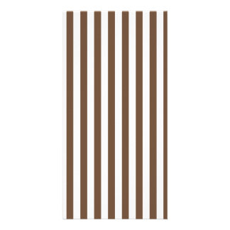 Thin Stripes - White and Coffee Customised Photo Card