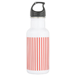 Thin Stripes - White and Coral Pink 532 Ml Water Bottle