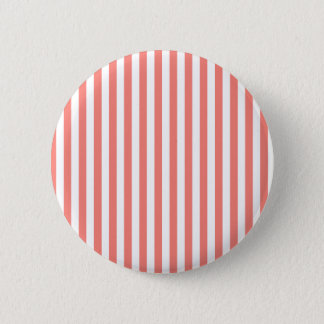 Thin Stripes - White and Coral Pink 6 Cm Round Badge