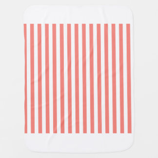 Thin Stripes - White and Coral Pink Baby Blanket