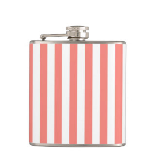 Thin Stripes - White and Coral Pink Hip Flask