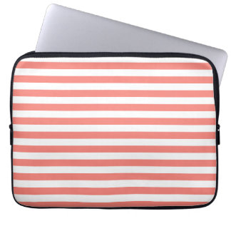 Thin Stripes - White and Coral Pink Laptop Computer Sleeves