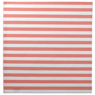Thin Stripes - White and Coral Pink Napkin
