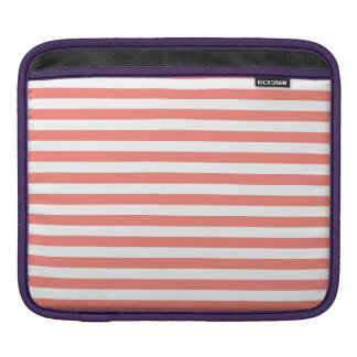 Thin Stripes - White and Coral Pink Sleeve For iPads