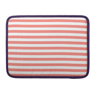 Thin Stripes - White and Coral Pink Sleeve For MacBook Pro