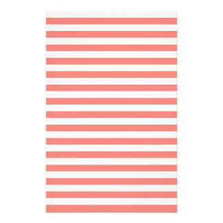 Thin Stripes - White and Coral Pink Stationery