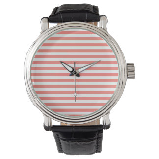 Thin Stripes - White and Coral Pink Watch