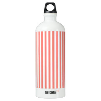 Thin Stripes - White and Coral Pink Water Bottle