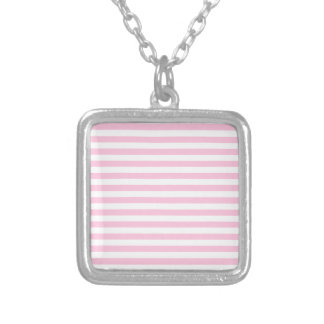 Thin Stripes - White and Cotton Candy Pink Silver Plated Necklace