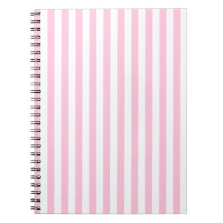 Thin Stripes - White and Cotton Candy Spiral Notebook