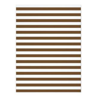 Thin Stripes - White and Dark Brown 17 Cm X 22 Cm Invitation Card
