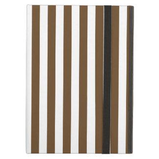 Thin Stripes - White and Dark Brown iPad Air Case
