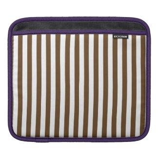 Thin Stripes - White and Dark Brown iPad Sleeve