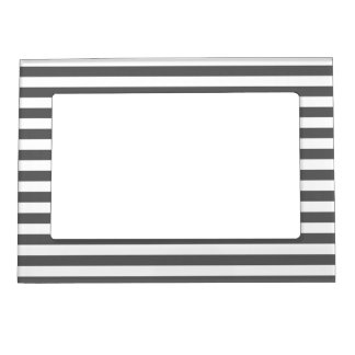 Thin Stripes - White and Dark Gray Magnetic Frame
