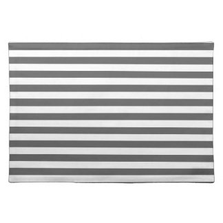 Thin Stripes - White and Dark Gray Place Mat