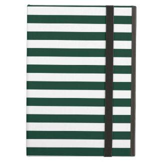 Thin Stripes - White and Dark Green iPad Air Cover