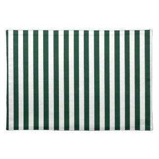 Thin Stripes - White and Dark Green Placemat