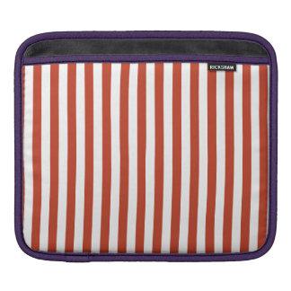 Thin Stripes - White and Dark Pastel Red iPad Sleeve
