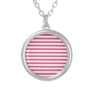 Thin Stripes - White and Dark Pink Silver Plated Necklace