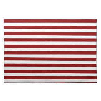 Thin Stripes - White and Dark Red Place Mats