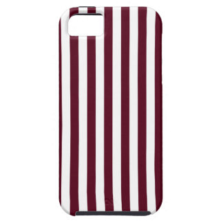 Thin Stripes - White and Dark Scarlet Case For The iPhone 5