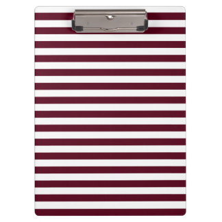 Thin Stripes - White and Dark Scarlet Clipboards