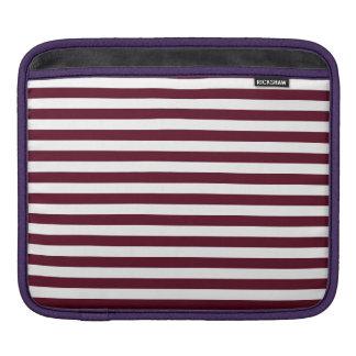 Thin Stripes - White and Dark Scarlet iPad Sleeve