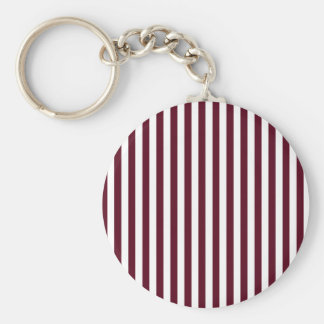 Thin Stripes - White and Dark Scarlet Key Ring