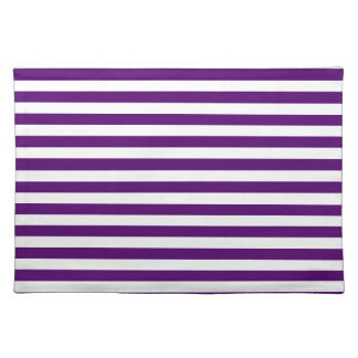 Thin Stripes - White and Dark Violet Place Mats