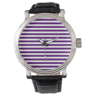Thin Stripes - White and Dark Violet Watch