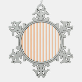 Thin Stripes - White and Deep Peach Snowflake Pewter Christmas Ornament