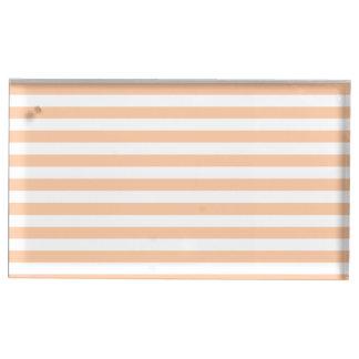 Thin Stripes - White and Deep Peach Table Card Holder