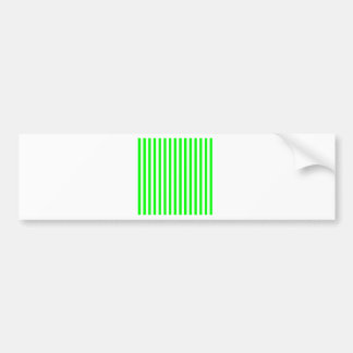 Thin Stripes - White and Electric Green Bumper Sticker