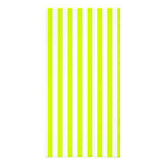 Thin Stripes - White and Fluorescent Yellow Photo Card Template