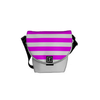 Thin Stripes - White and Fuchsia Commuter Bags