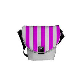 Thin Stripes - White and Fuchsia Courier Bags