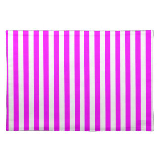 Thin Stripes - White and Fuchsia Placemat