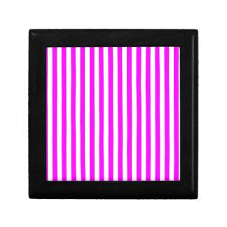Thin Stripes - White and Fuchsia Small Square Gift Box