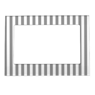 Thin Stripes - White and Gray Magnetic Picture Frame