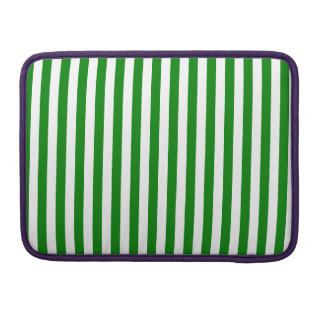Thin Stripes - White and Green Sleeves For MacBooks