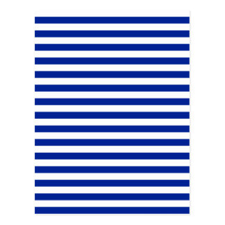 Thin Stripes - White and Imperial Blue Postcard