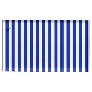 Thin Stripes - White and Imperial Blue Table Card Holder