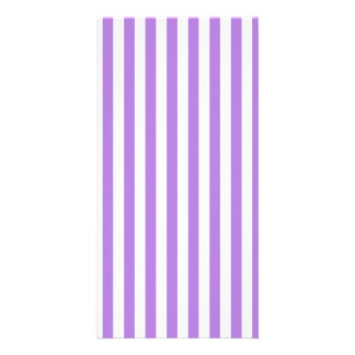 Thin Stripes - White and Lavender Customised Photo Card