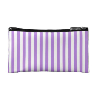 Thin Stripes - White and Lavender Makeup Bag